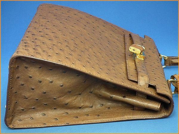 ジャルダンデサック/JARDIN DES SACS オーストリッチ ケリー型 ハンドバッグ_画像7