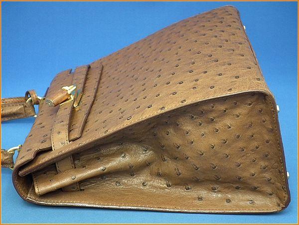 ジャルダンデサック/JARDIN DES SACS オーストリッチ ケリー型 ハンドバッグ_画像6