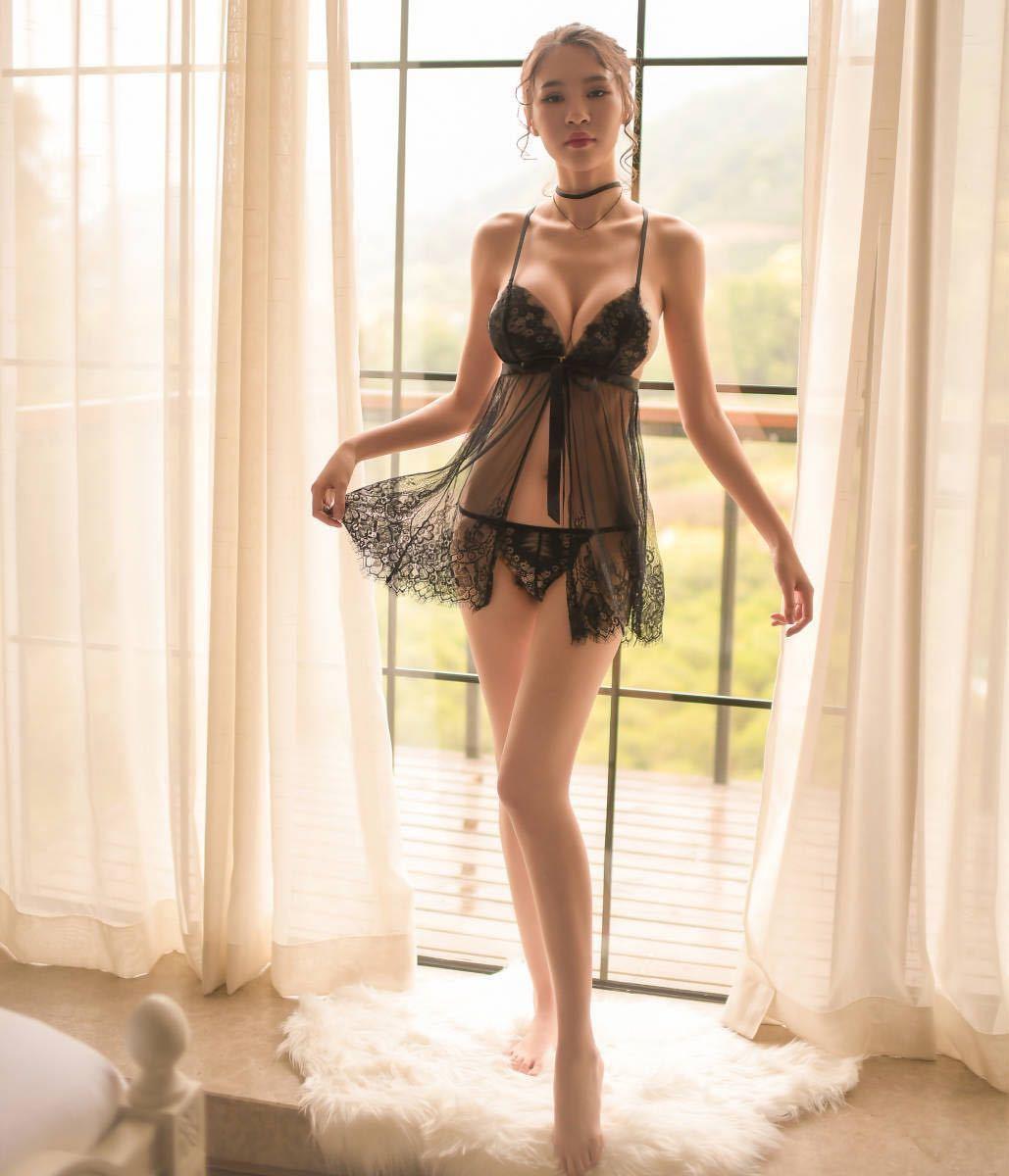 W188黒L セクシーランジェリーセット 大きいサイズ ベビードール 女性下着 コスプレ衣装 勝負下着 コスプレインナー パジャマ 部屋着_画像3