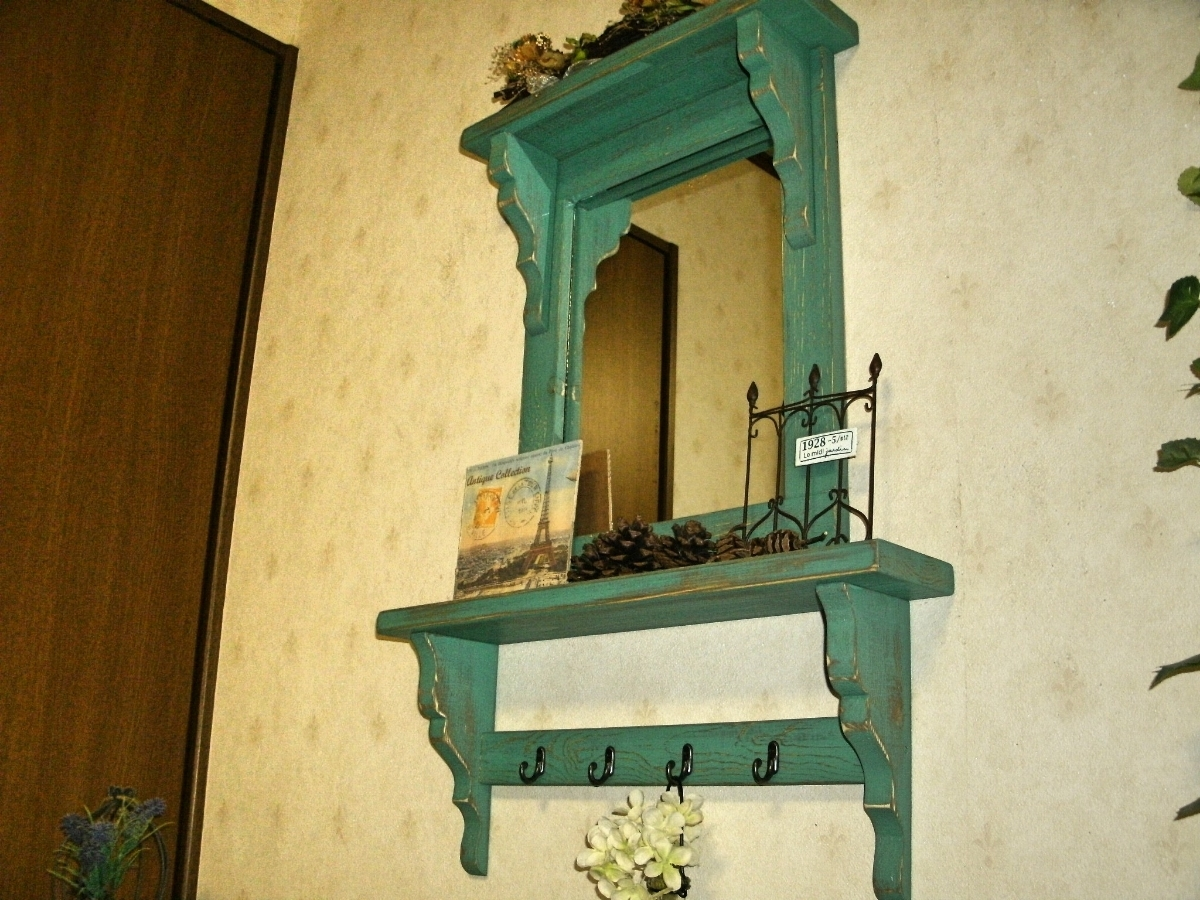 【送料無料】ミラー&シェルフ 壁掛け 飾り棚 アンティーク風 ハンドメイド スモークグリーン 木製 家具_画像7