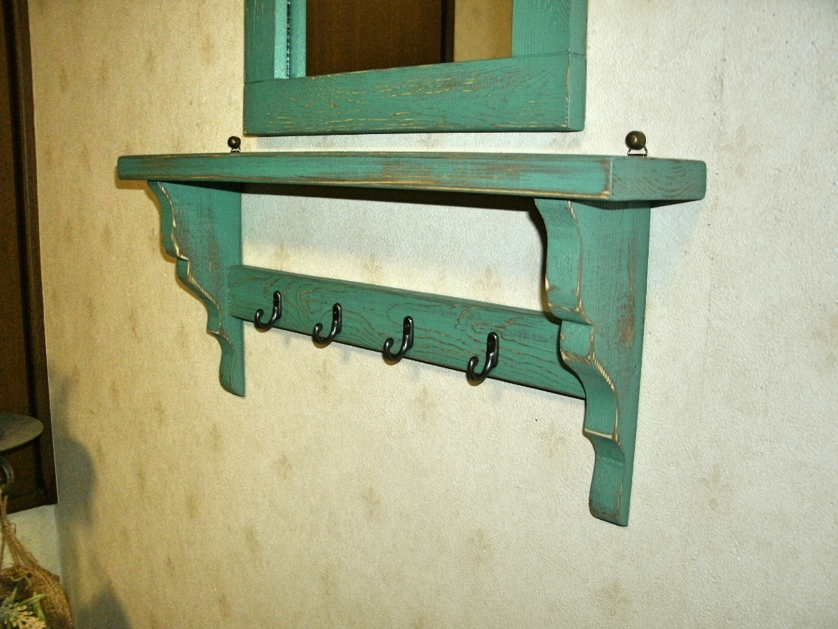 【送料無料】ミラー&シェルフ 壁掛け 飾り棚 アンティーク風 ハンドメイド スモークグリーン 木製 家具_画像6