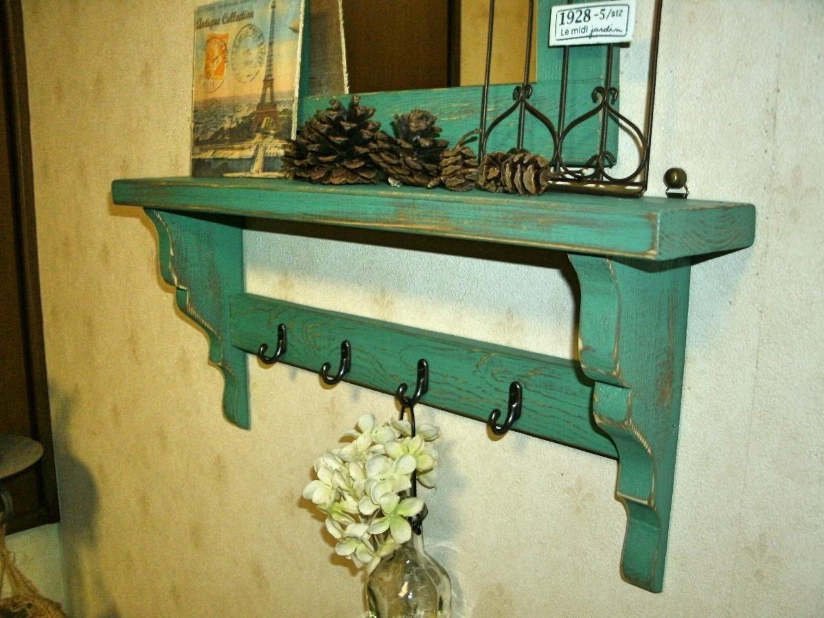 【送料無料】ミラー&シェルフ 壁掛け 飾り棚 アンティーク風 ハンドメイド スモークグリーン 木製 家具_画像5