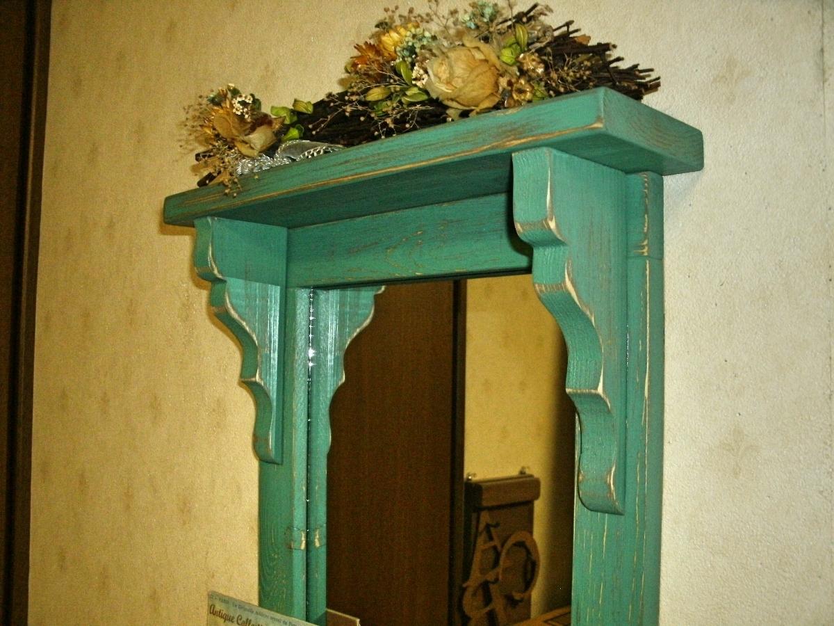 【送料無料】ミラー&シェルフ 壁掛け 飾り棚 アンティーク風 ハンドメイド スモークグリーン 木製 家具_画像3
