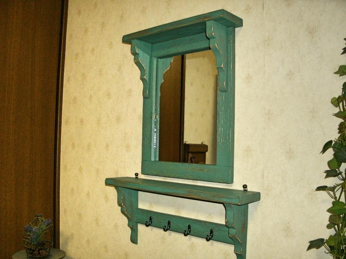 【送料無料】ミラー&シェルフ 壁掛け 飾り棚 アンティーク風 ハンドメイド スモークグリーン 木製 家具_画像2