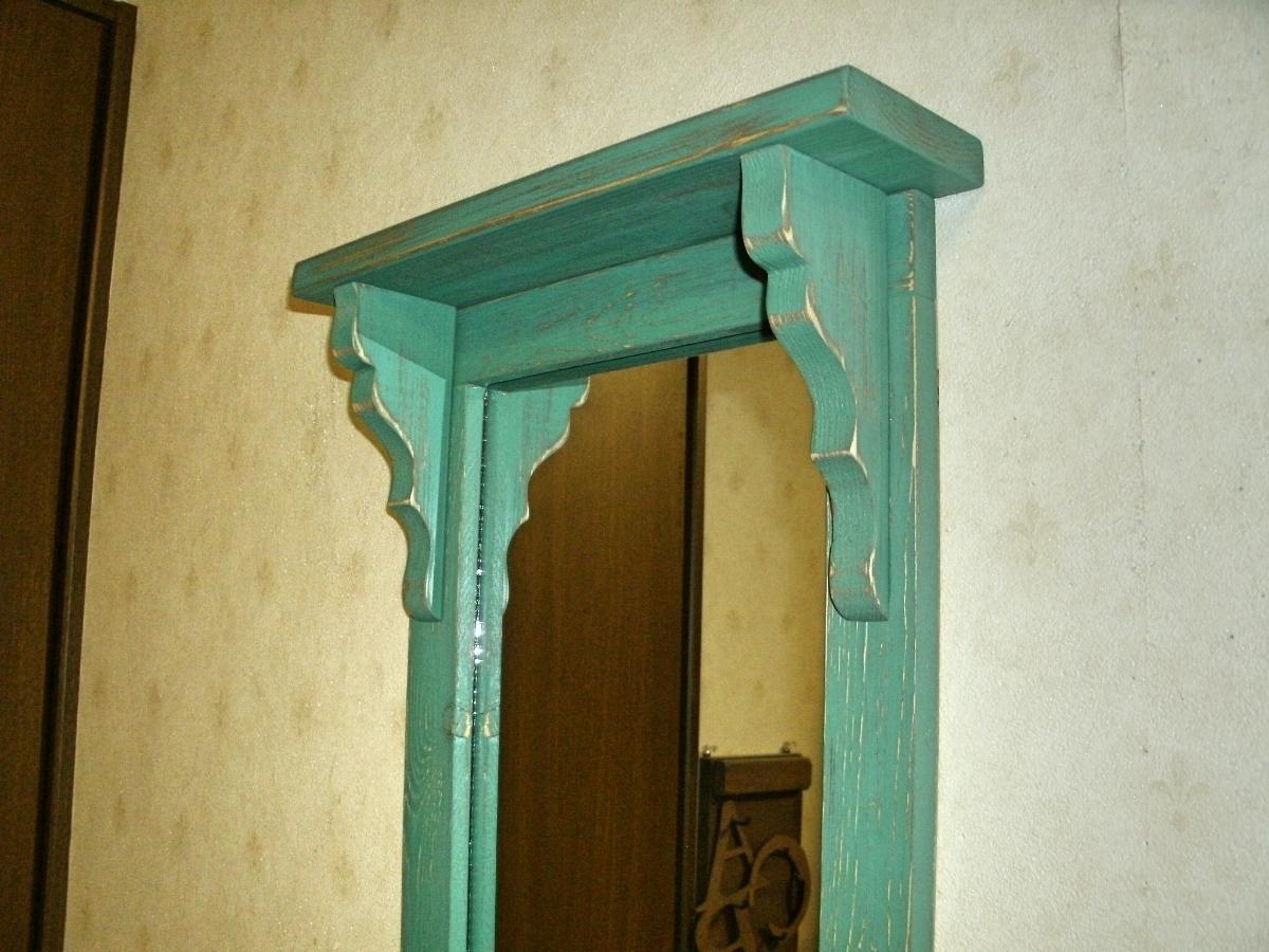 【送料無料】ミラー&シェルフ 壁掛け 飾り棚 アンティーク風 ハンドメイド スモークグリーン 木製 家具_画像4