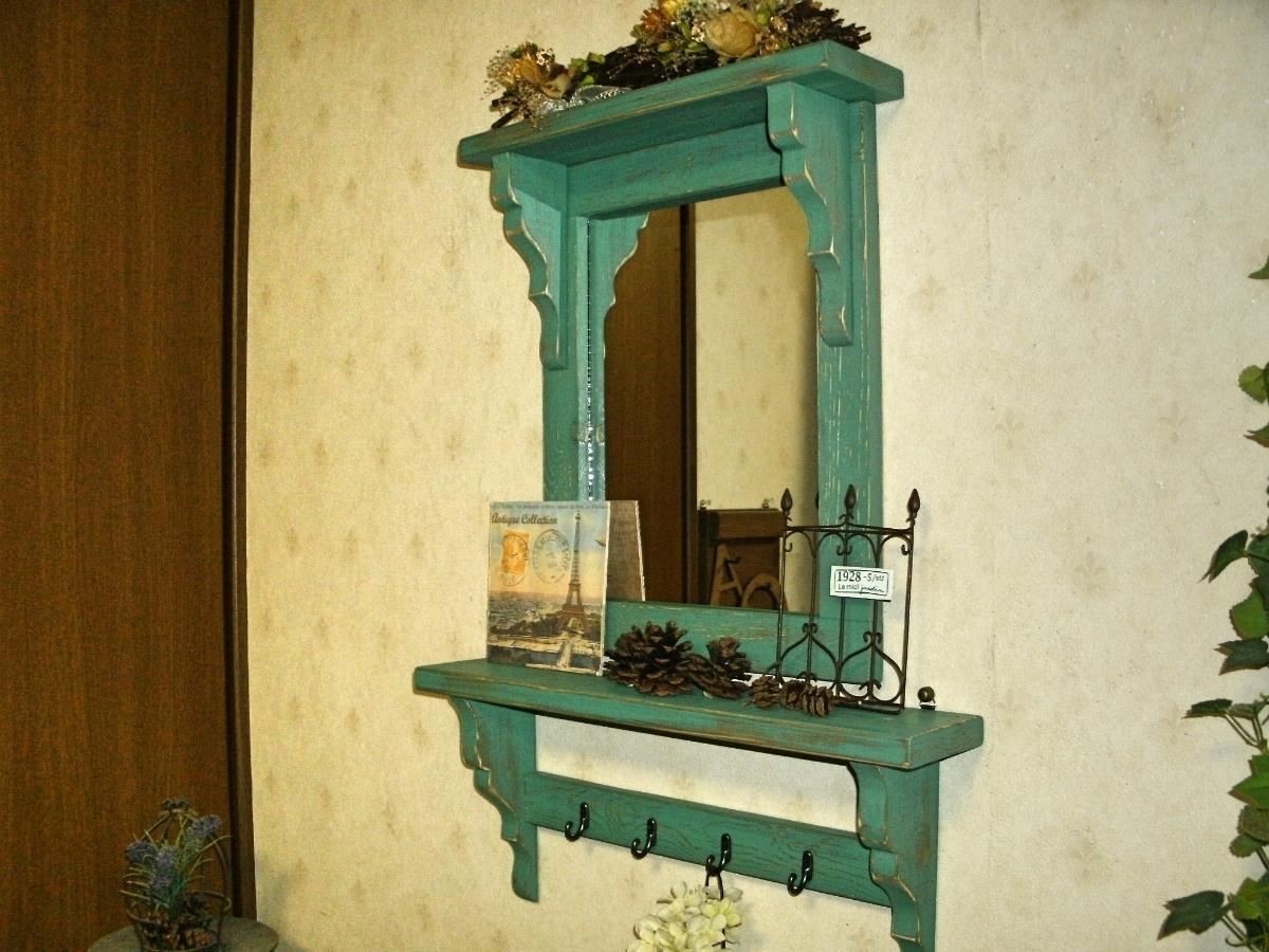 【送料無料】ミラー&シェルフ 壁掛け 飾り棚 アンティーク風 ハンドメイド スモークグリーン 木製 家具_画像1