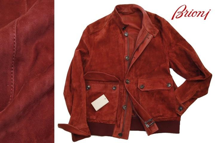 93万 新品【ブリオーニ】紳士服の頂点 バックスキン レザー●秋色が美感をそそるボルドー W-Zip ブルゾン●50