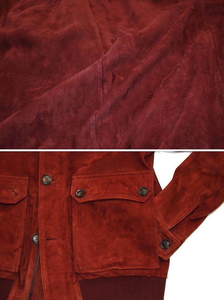 93万 新品【ブリオーニ】紳士服の頂点 バックスキン レザー●秋色が美感をそそるボルドー W-Zip ブルゾン●50_画像5