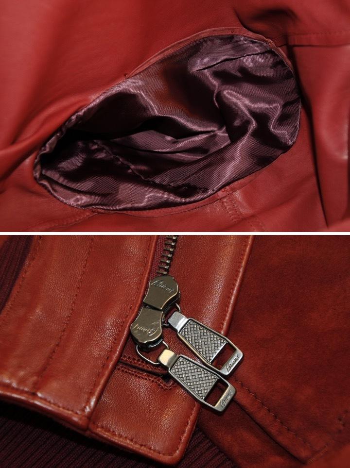 93万 新品【ブリオーニ】紳士服の頂点 バックスキン レザー●秋色が美感をそそるボルドー W-Zip ブルゾン●50_画像8