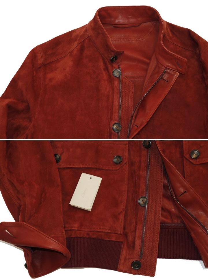 93万 新品【ブリオーニ】紳士服の頂点 バックスキン レザー●秋色が美感をそそるボルドー W-Zip ブルゾン●50_画像2
