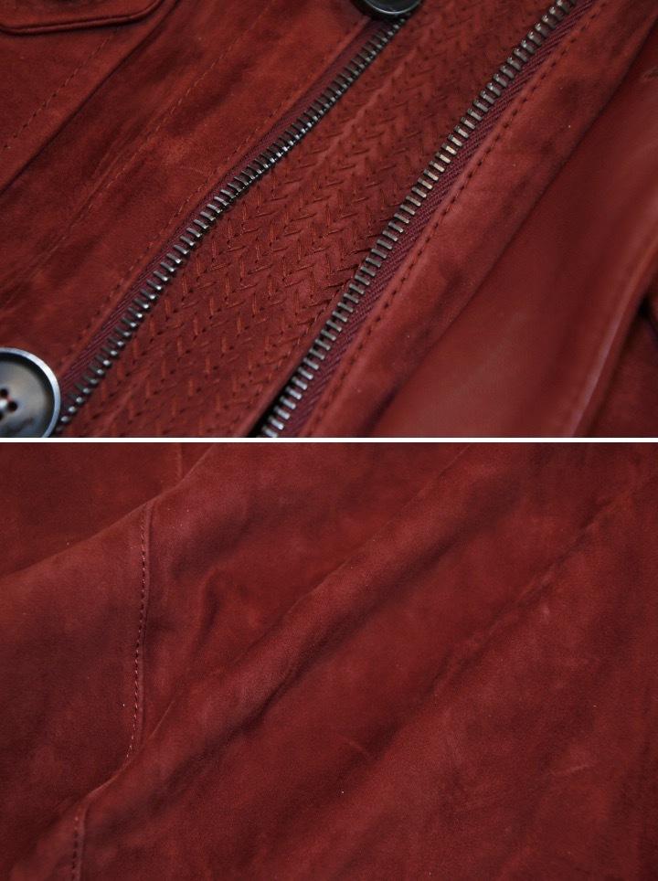 93万 新品【ブリオーニ】紳士服の頂点 バックスキン レザー●秋色が美感をそそるボルドー W-Zip ブルゾン●50_画像3