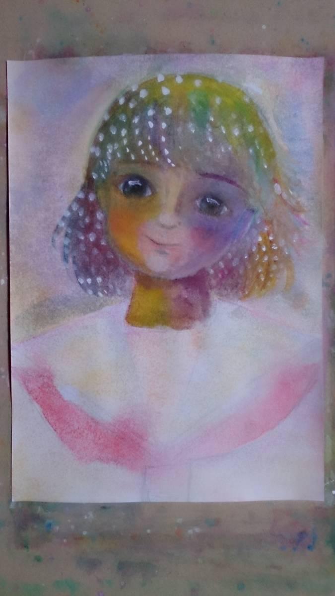 B5サイズオリジナル手描きイラスト セーラー服の少女_画像2