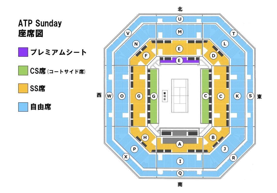 楽天ジャパンオープン テニス 9/29 SS席 Hブロック 連番3枚 ATP Sunday_画像2