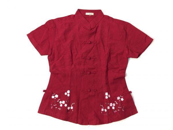 TRI TAM SILK◆綺麗ボルドー マオカラー フラワー刺繍デザイン チャイナ ブラウス_画像8