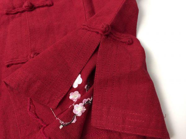 TRI TAM SILK◆綺麗ボルドー マオカラー フラワー刺繍デザイン チャイナ ブラウス_画像6