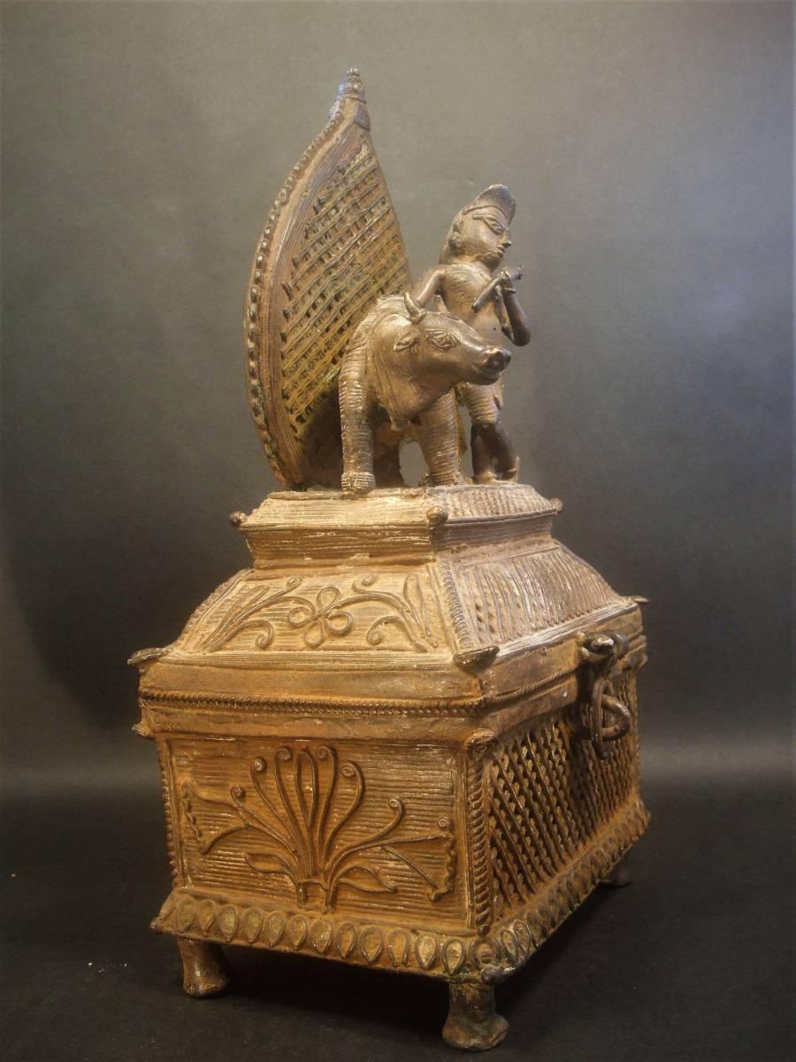 銅製 ナンディーとシヴァ神像 ヒンドゥー教美術 レアもの_画像5