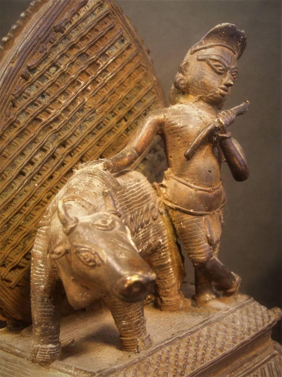 銅製 ナンディーとシヴァ神像 ヒンドゥー教美術 レアもの_画像6