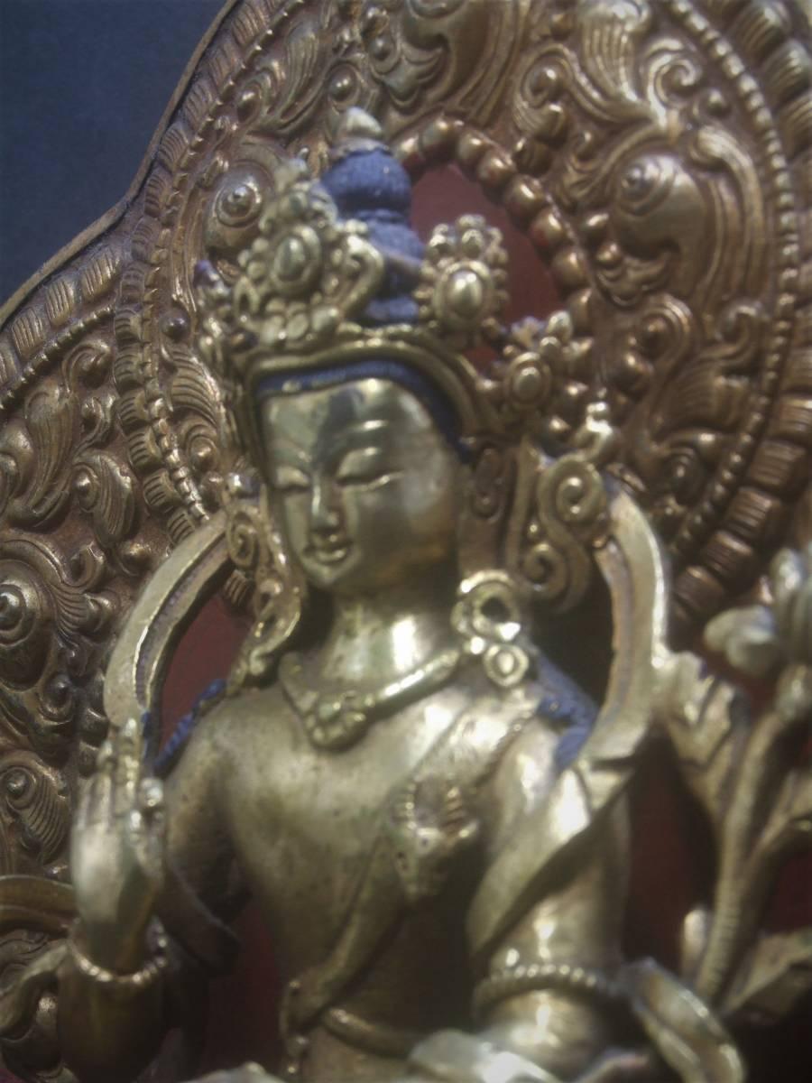 銅製鍍金 文殊菩薩座像 貴重品_画像1