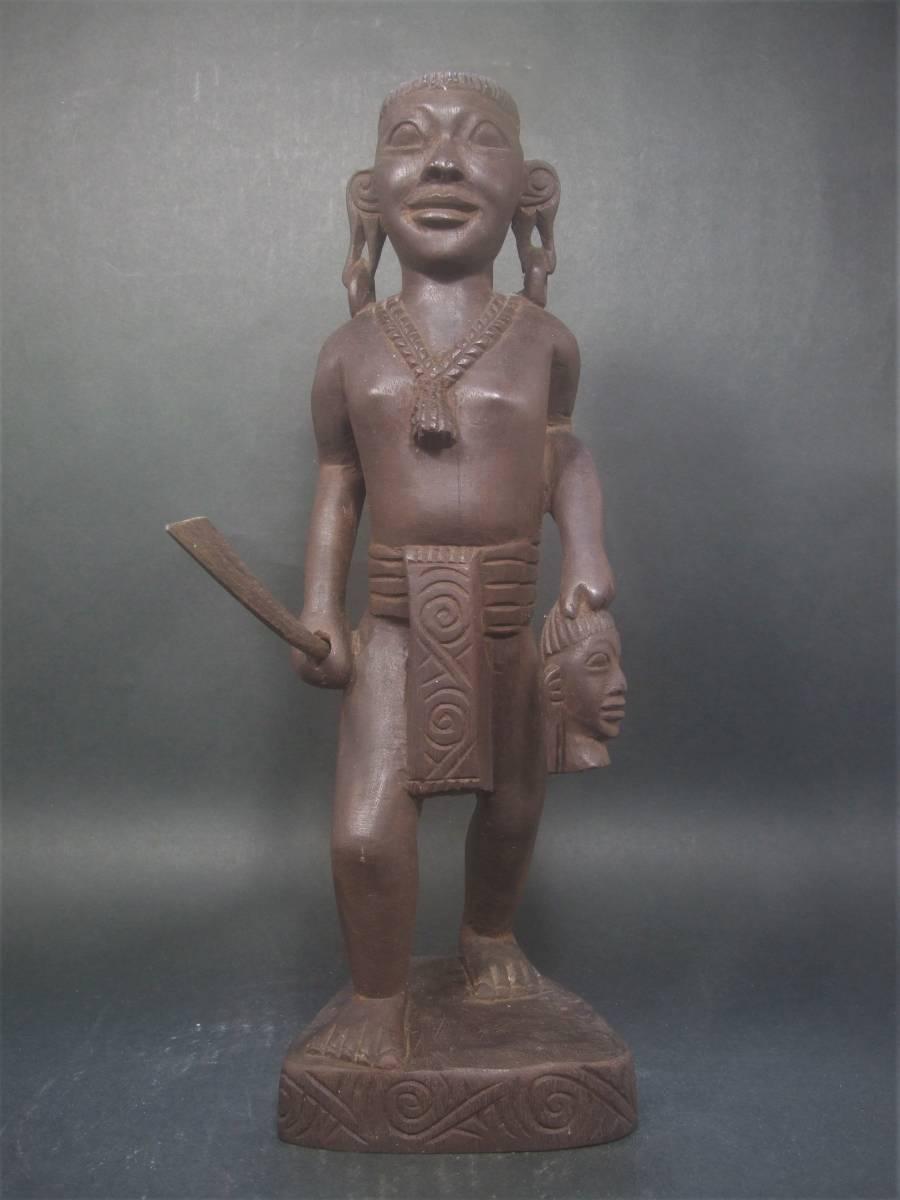 木製 アフリカ彫刻 首狩り族像 一点物_画像2