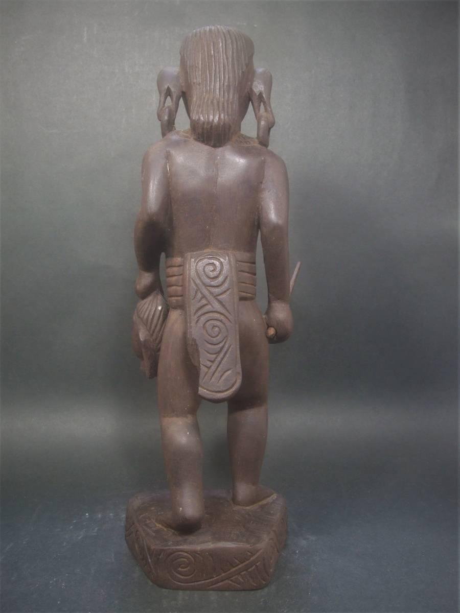 木製 アフリカ彫刻 首狩り族像 一点物_画像4