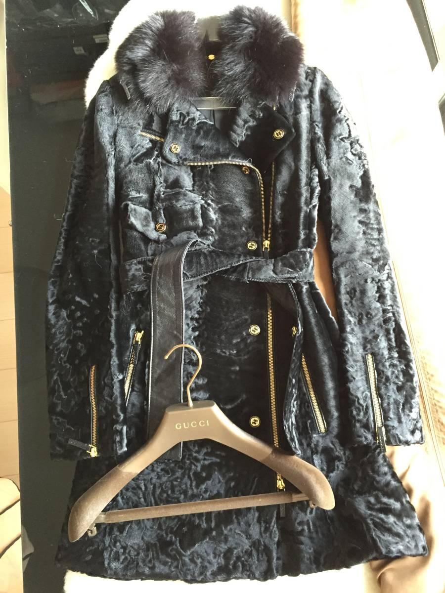 即決 極美品 GUCCI グッチ 最高峰 フォックスファー付 アストラカン毛皮ライダースコート☆38サイズ ブラック
