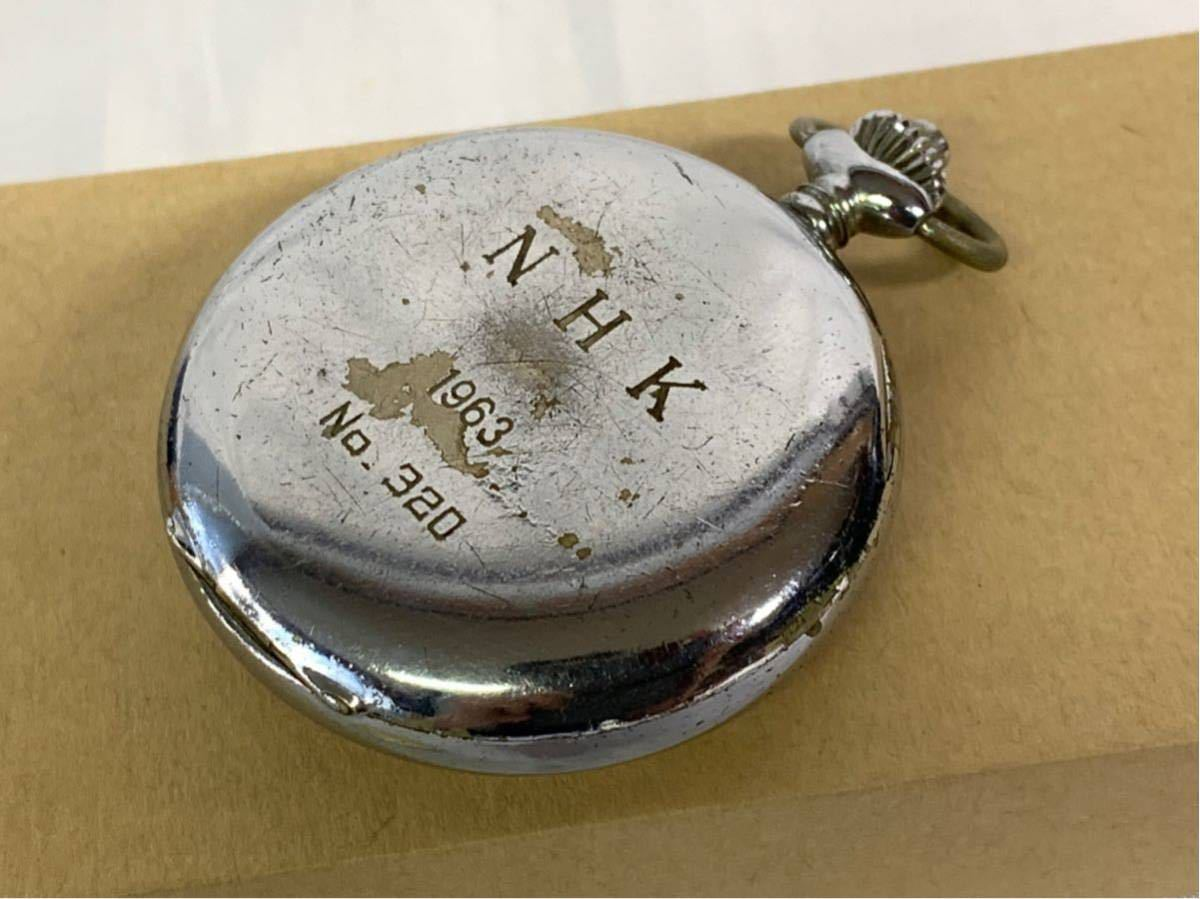 希少 ミネルバ クロノグラフ 大型懐中時計 NHK刻印 ビンテージ アンティーク 手巻き ストップウォッチ_画像5