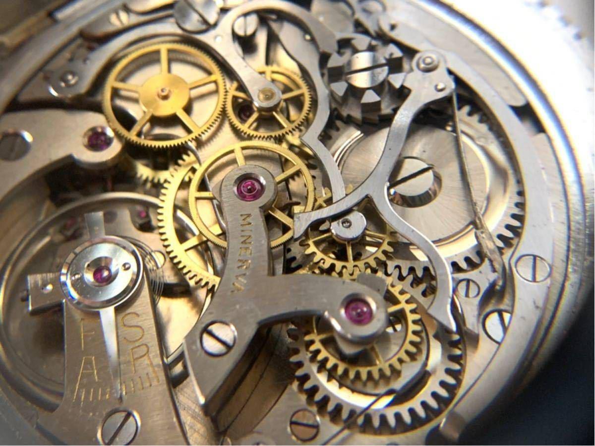 希少 ミネルバ クロノグラフ 大型懐中時計 NHK刻印 ビンテージ アンティーク 手巻き ストップウォッチ_画像9