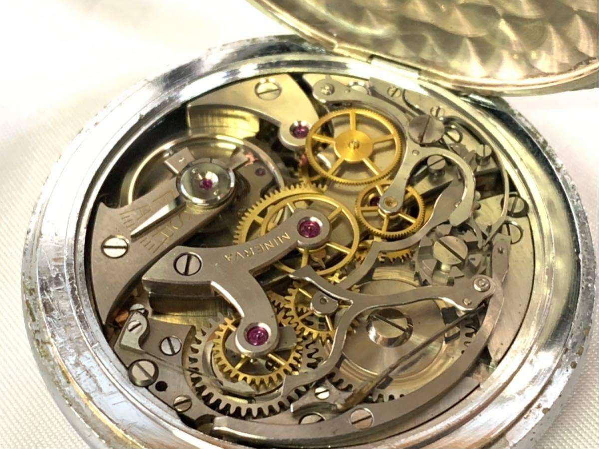 希少 ミネルバ クロノグラフ 大型懐中時計 NHK刻印 ビンテージ アンティーク 手巻き ストップウォッチ_画像2
