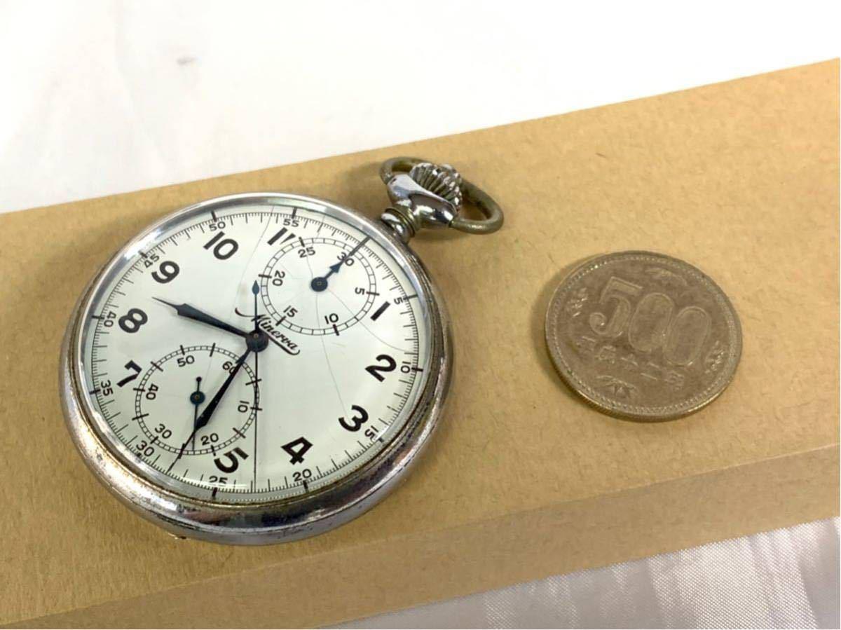 希少 ミネルバ クロノグラフ 大型懐中時計 NHK刻印 ビンテージ アンティーク 手巻き ストップウォッチ_画像10