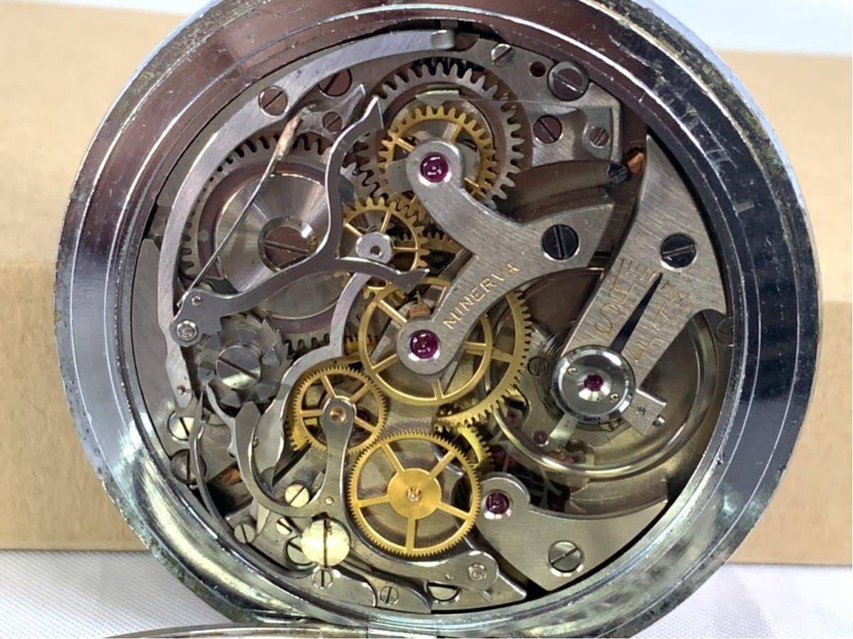 希少 ミネルバ クロノグラフ 大型懐中時計 NHK刻印 ビンテージ アンティーク 手巻き ストップウォッチ_画像8