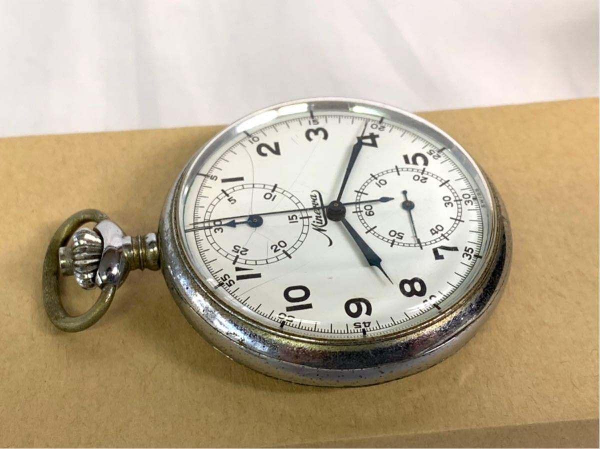 希少 ミネルバ クロノグラフ 大型懐中時計 NHK刻印 ビンテージ アンティーク 手巻き ストップウォッチ_画像4