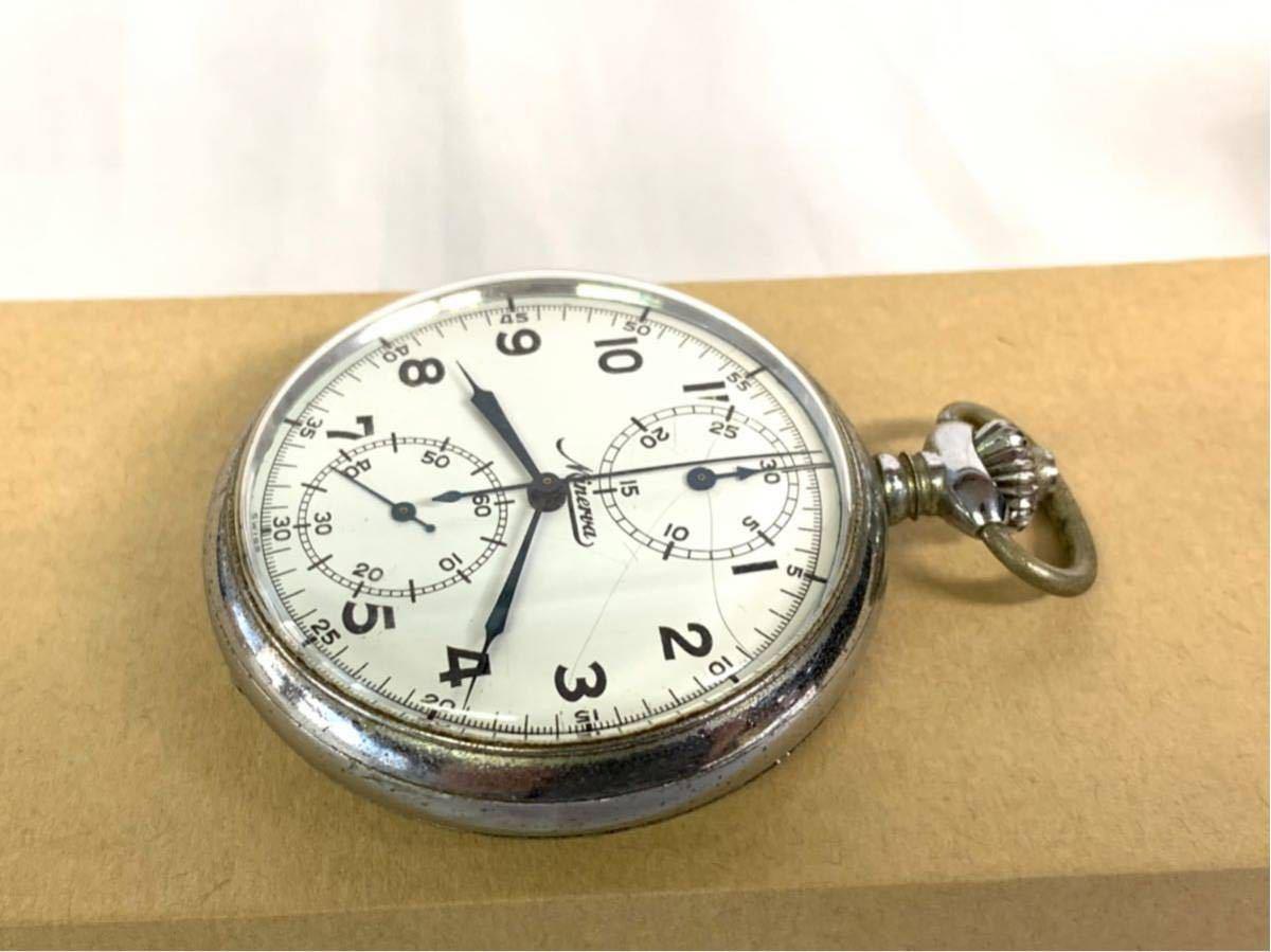 希少 ミネルバ クロノグラフ 大型懐中時計 NHK刻印 ビンテージ アンティーク 手巻き ストップウォッチ_画像3