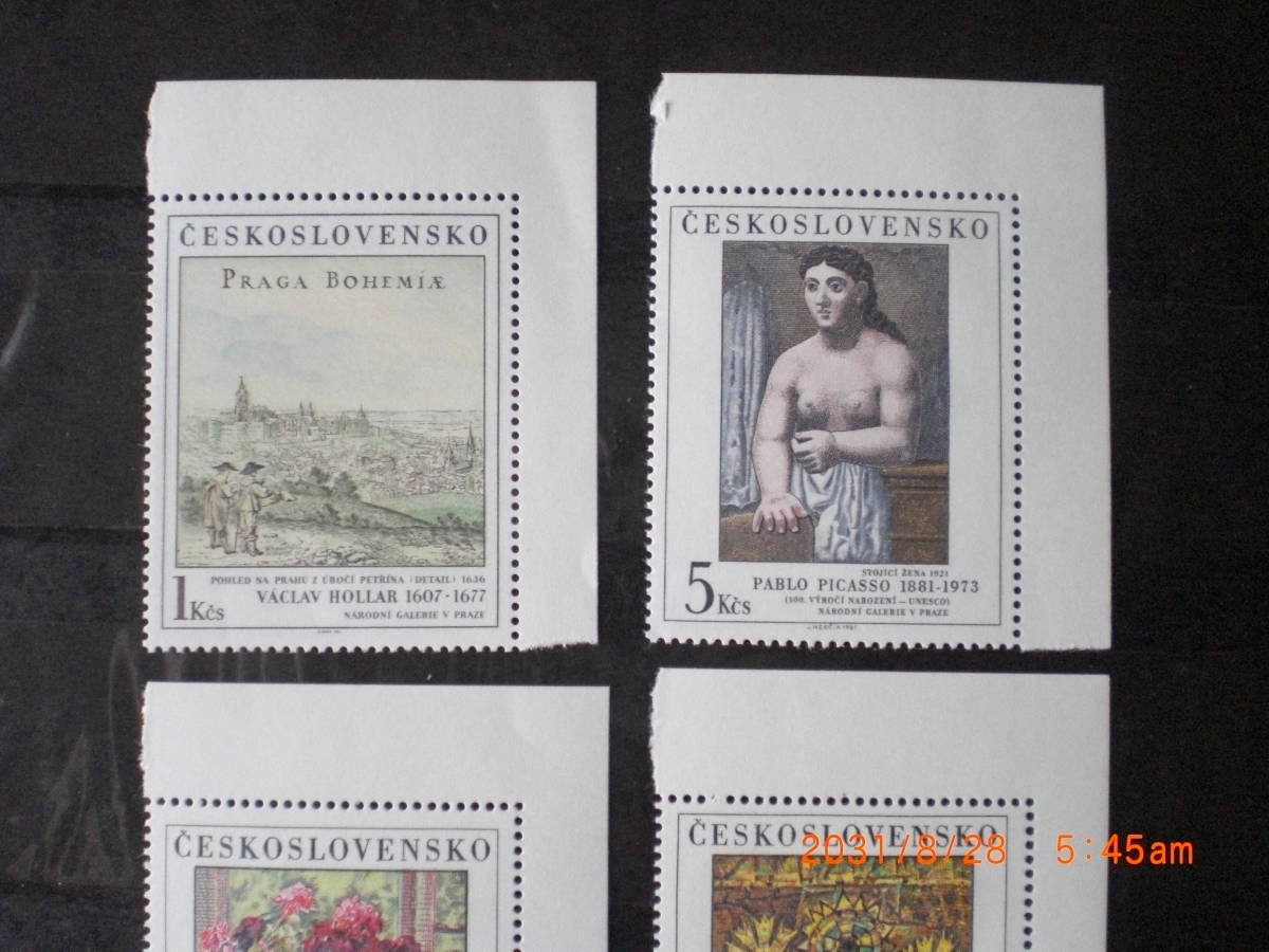 チェコの美術切手ーピカソ画「立つ女」ほか 1981年 5種完 未使用 チェコスロヴァキア VF/NH_画像2