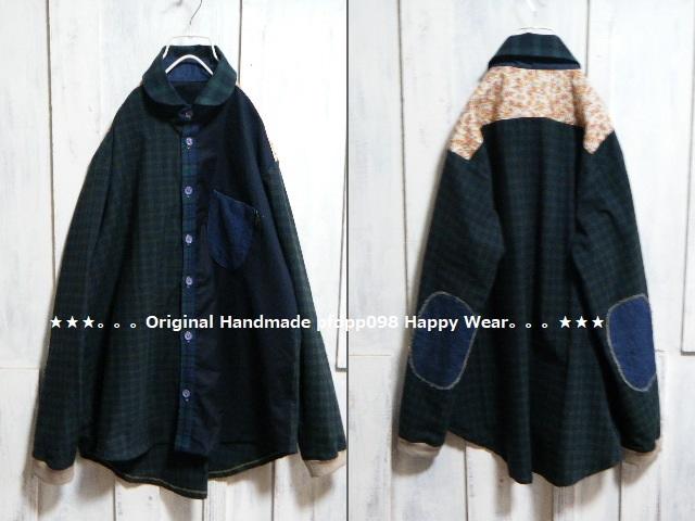ハンドメイドhandmadewafflechipkoosm2*ブラックウォッチコットンとデニムのちび丸襟シャツ