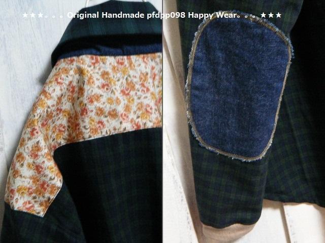 ハンドメイドhandmadewafflechipkoosm2*ブラックウォッチコットンとデニムのちび丸襟シャツ_画像2