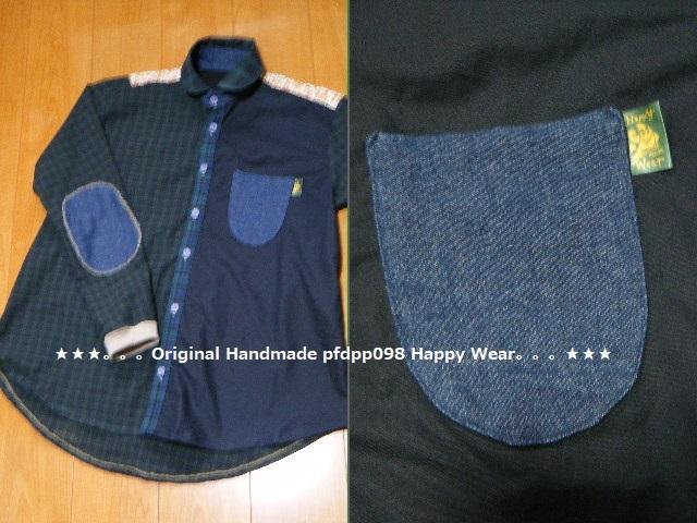 ハンドメイドhandmadewafflechipkoosm2*ブラックウォッチコットンとデニムのちび丸襟シャツ_画像3