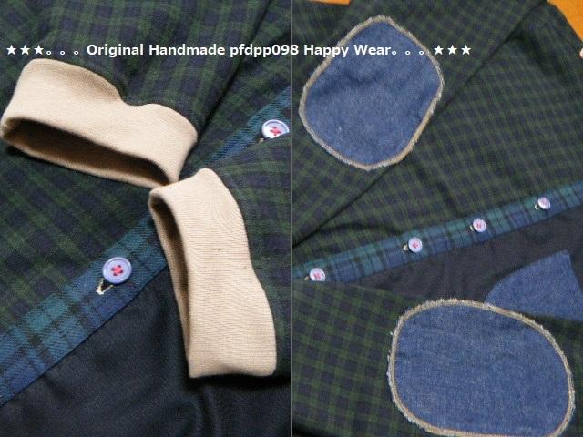 ハンドメイドhandmadewafflechipkoosm2*ブラックウォッチコットンとデニムのちび丸襟シャツ_画像5
