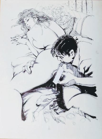 【直筆原画】前田寿安・SM誌挿絵Bの3【直筆原稿】肉筆画・官能小説挿絵(秘'97-8)