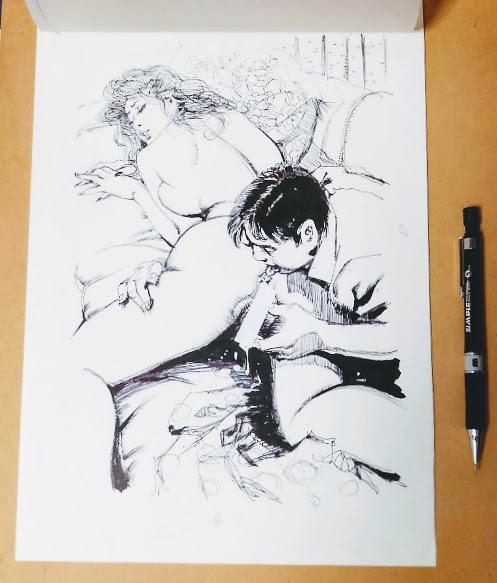 【直筆原画】前田寿安・SM誌挿絵Bの3【直筆原稿】肉筆画・官能小説挿絵(秘'97-8)_画像2