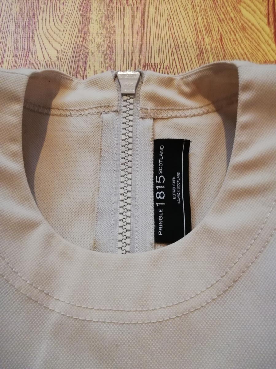 美品 PRINGLE 1815 プリングル パフスリーブ バルーン袖 ドッキング ワンピース プリーツ 40 上品_画像4