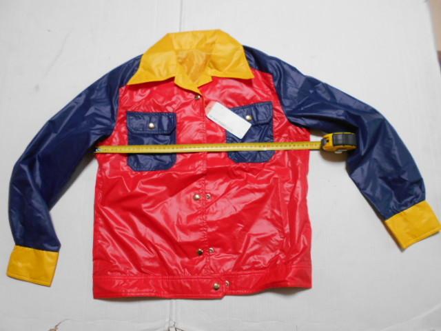 L 赤紺黄 デサント APA-3817W ジャンパー 昭和レトロ 光沢 ナイロン100% 未使用(検 ヤッケ ウィンドブレーカー