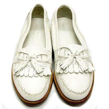 良品 JOHNSTON&MURPHY ジョンストン&マーフィー タッセルローファー USA製 白 ホワイト 26.5cm US8.5 ビンテージ アメリカ オールド 革靴_画像2