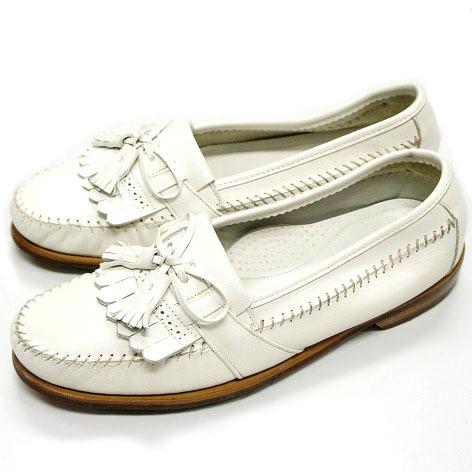 良品 JOHNSTON&MURPHY ジョンストン&マーフィー タッセルローファー USA製 白 ホワイト 26.5cm US8.5 ビンテージ アメリカ オールド 革靴