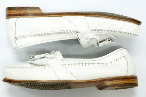 良品 JOHNSTON&MURPHY ジョンストン&マーフィー タッセルローファー USA製 白 ホワイト 26.5cm US8.5 ビンテージ アメリカ オールド 革靴_画像4