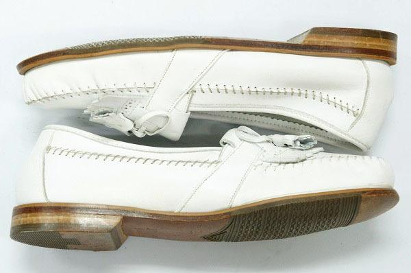 良品 JOHNSTON&MURPHY ジョンストン&マーフィー タッセルローファー USA製 白 ホワイト 26.5cm US8.5 ビンテージ アメリカ オールド 革靴_画像5