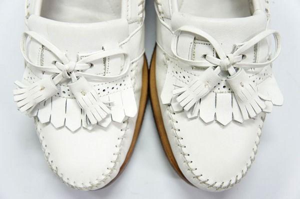 良品 JOHNSTON&MURPHY ジョンストン&マーフィー タッセルローファー USA製 白 ホワイト 26.5cm US8.5 ビンテージ アメリカ オールド 革靴_画像10