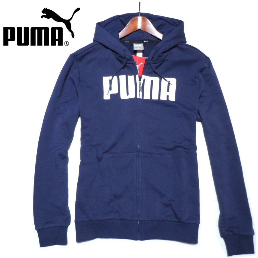 新品 プーマ スウェット ジップパーカー フロントビッグロゴ ネイビー 日本サイズL PUMA プーマジャパン