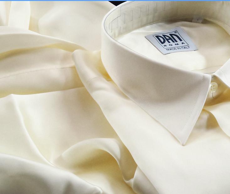 ★イタリアシルクシャツDANROMA SILK SATIN PERLA PERLA ときめきの真珠色 COLLO REGLARE 普通衿 M 40-91_画像1
