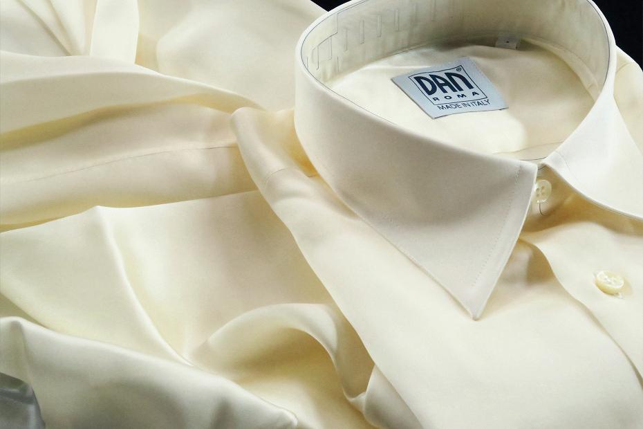 ★イタリアシルクシャツDANROMA SILK SATIN PERLA PERLA ときめきの真珠色 COLLO REGLARE 普通衿 M 40-91_画像9