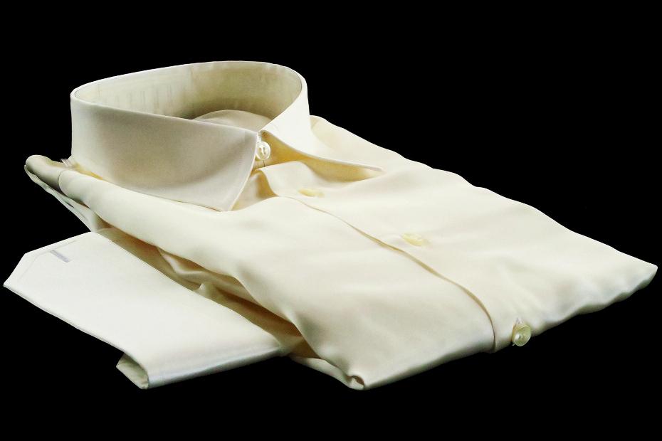 ★イタリアシルクシャツDANROMA SILK SATIN PERLA PERLA ときめきの真珠色 COLLO REGLARE 普通衿 M 40-91_画像2